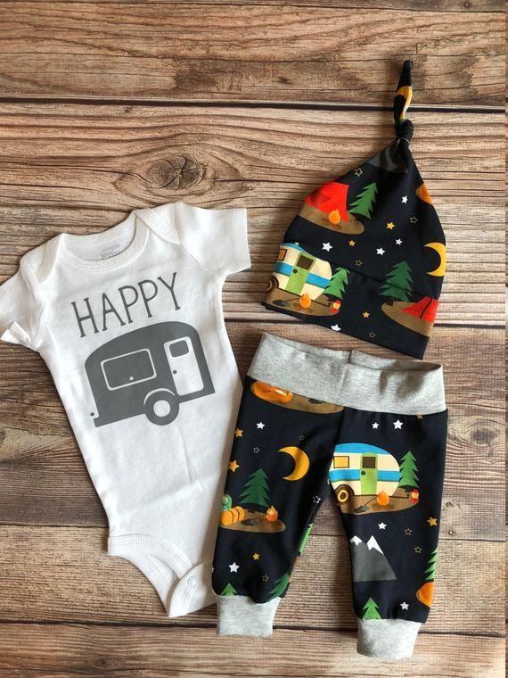 Photo of Happy Camper Neugeborenen Outfit, Camping, Zelt, Wohnmobil, kleine Camper, Baby …