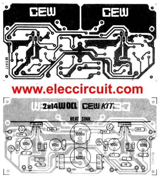 tda2030 stereo amplifier circuit with pcb eleccircuit com