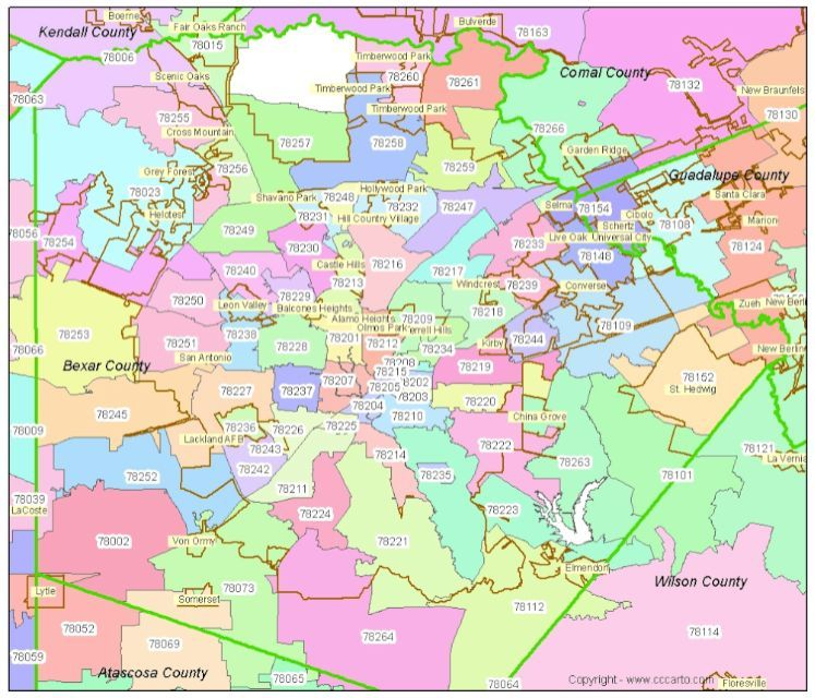 san antonio zip codes on map Bexar County Zip Code Map Bexar County Map Zip Code Map san antonio zip codes on map