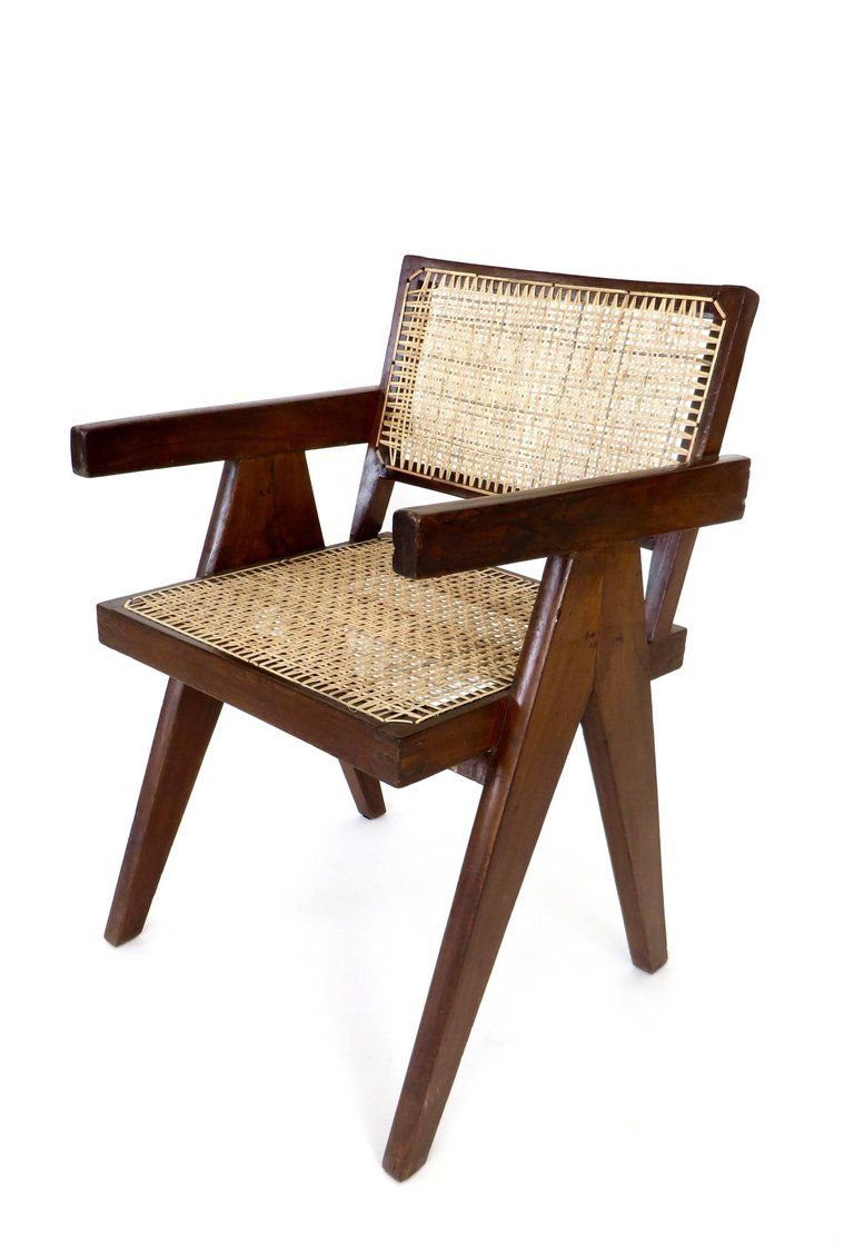 Indian Teak Office Cane Chair Armchair By Pierre Jeanneret From Chandigarh For Sale Chair Antique Chairs Furniture Chair
