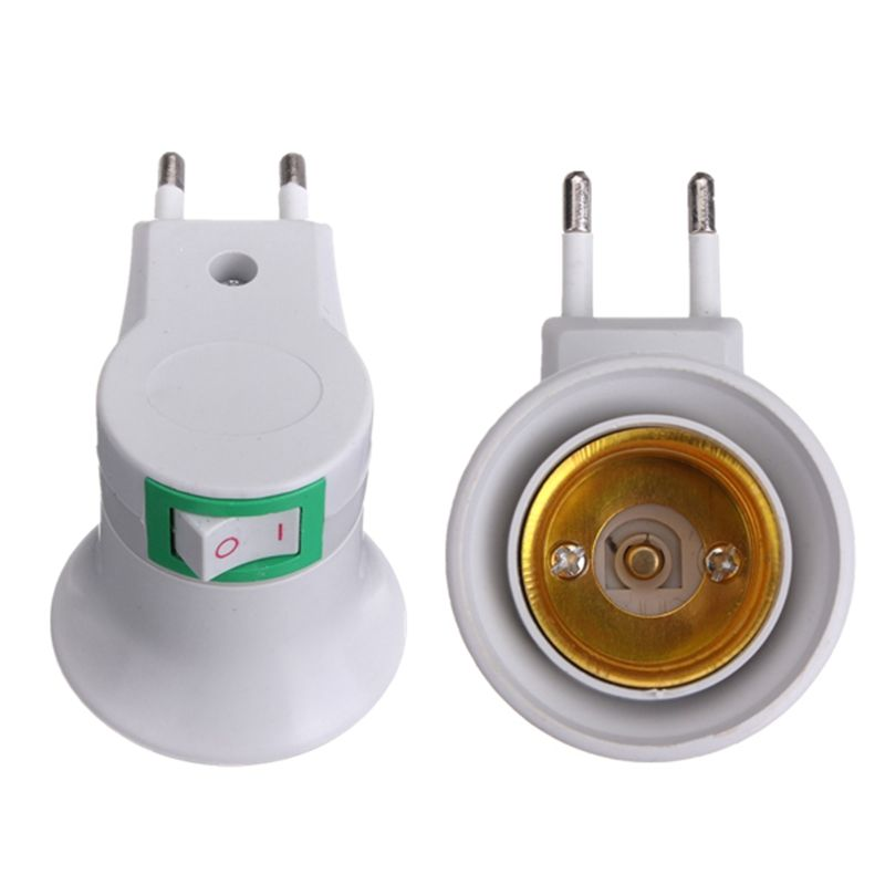 E27 Led Light Male Socket To Eu Type Plug Lamp Holder Bulb Adapter Converter With On Off Button Switch Power 100v 240v Bulb Adapter Led Lights Lamp Socket