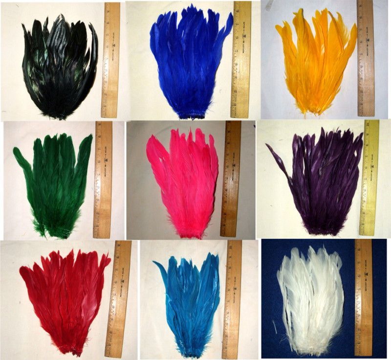 """NEW 50 pcs 8-10/"""" long Lime Green Dyed Rooster COQUE tail Feathers for crafting"""
