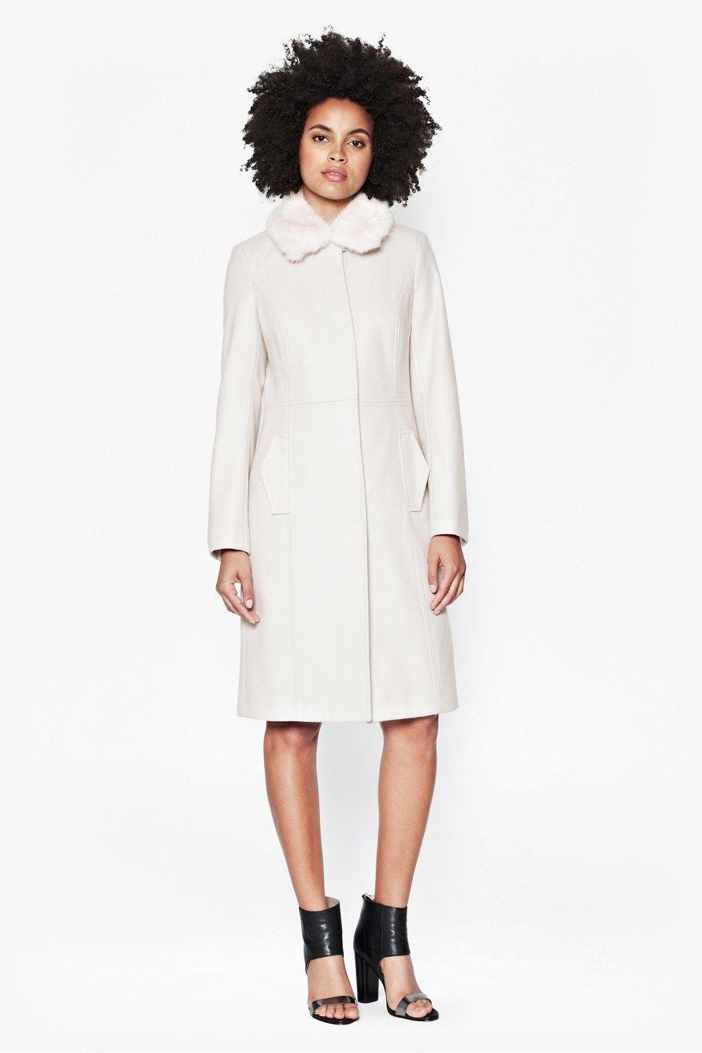 Platform Felt Faux Fur Collar Coat - Coats & Jackets - French ...