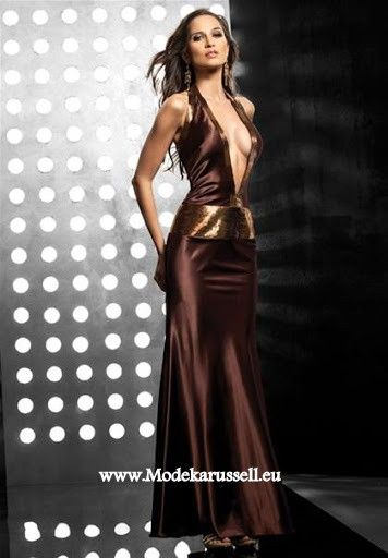 Extrem Sexy Cocktailkleid Abendkleid Lang Braun | Abendkleider 2018 ...