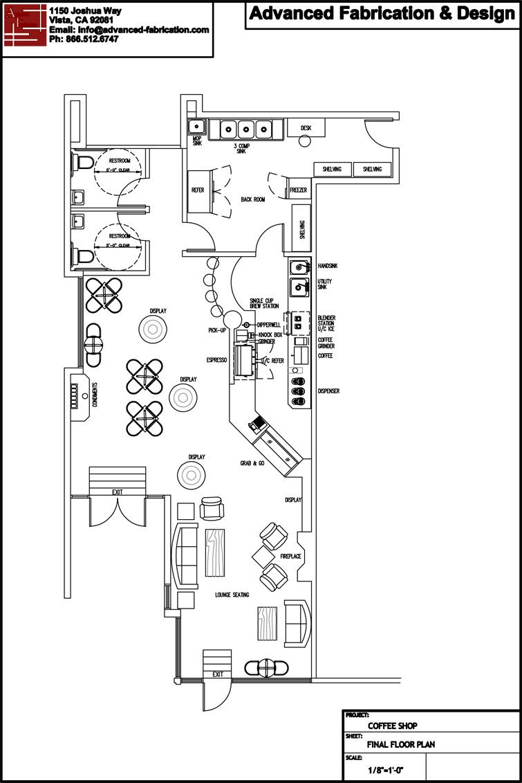 Coffee shop design coffee school coffee consulting for Coffee shop floor plan with dimensions