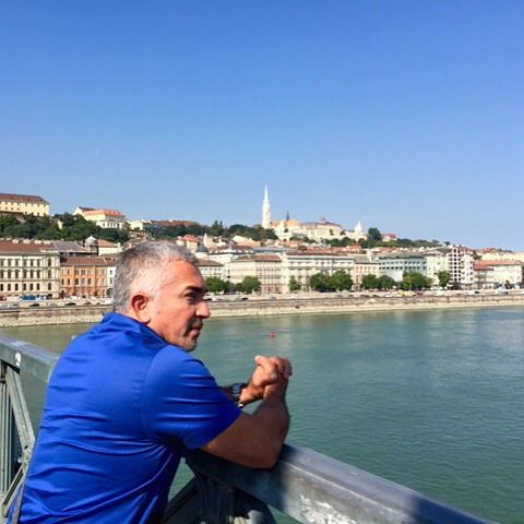 Admiring the Danube River in Budapest.