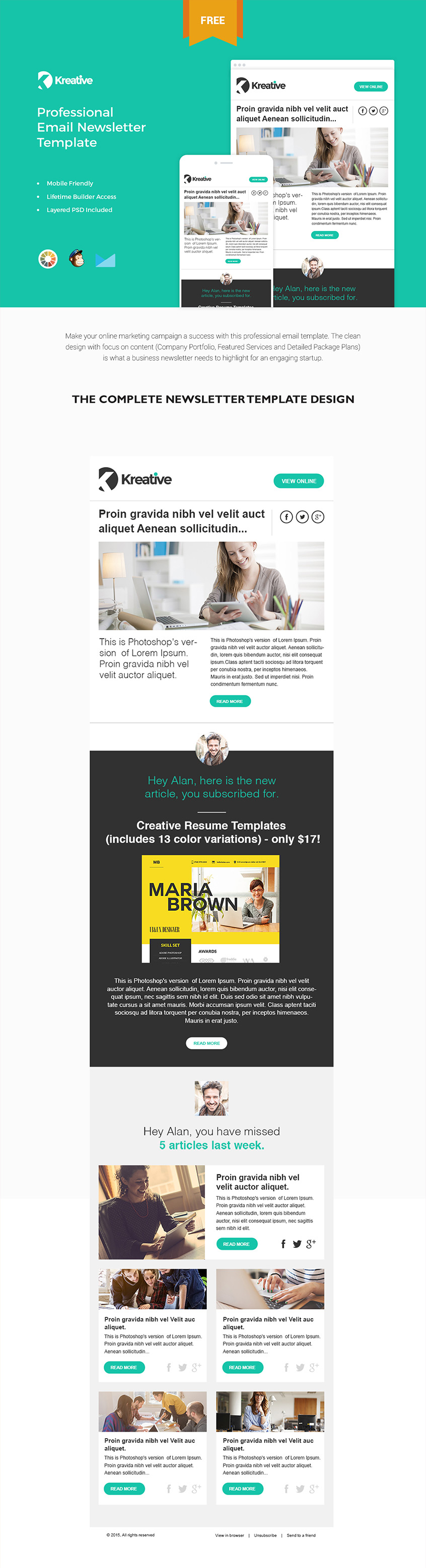 Free Email Newsletter Templates PSD » CSS Author Email