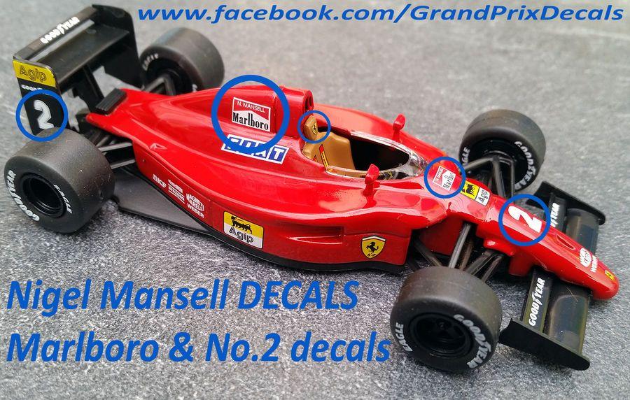 Ferrari 641 F1 90 Marlboro Water Slide Decals For Prost Mansell 1 43 Scale Ixo Marlboro Water Slide Water Slides Marlboro Ferrari