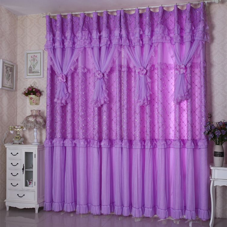 Purple Lace Curtains | Lace Curtain Finished Shade Gauze Rural Style Purple  Pink Embroidered .