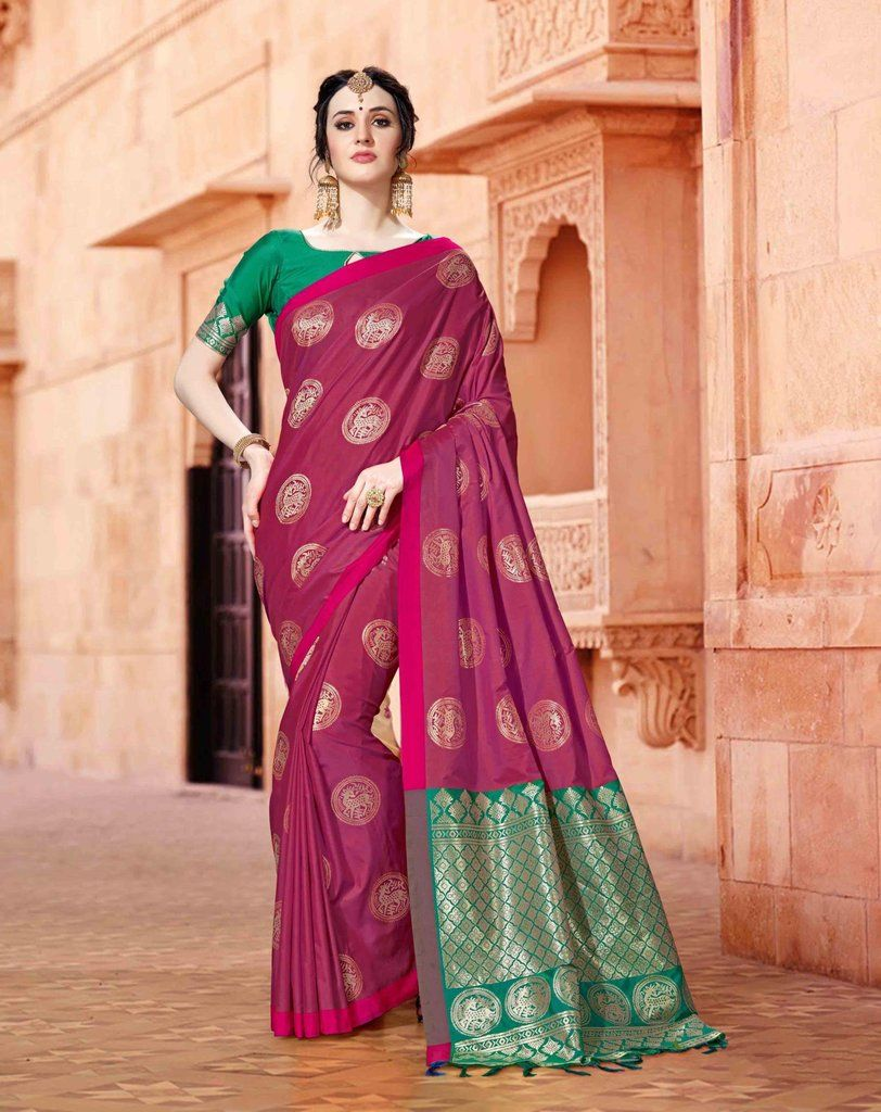 166cf424363a0f CRIMSON SOUTH SILK SAREE WITH ZARI WEAVING AND CONTRAST BLOUSE | buy ...