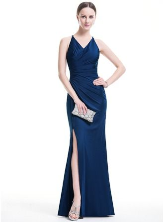 Trumpet/Mermaid V-neck Floor-Length Jersey Evening Dress With Ruffle Split Front