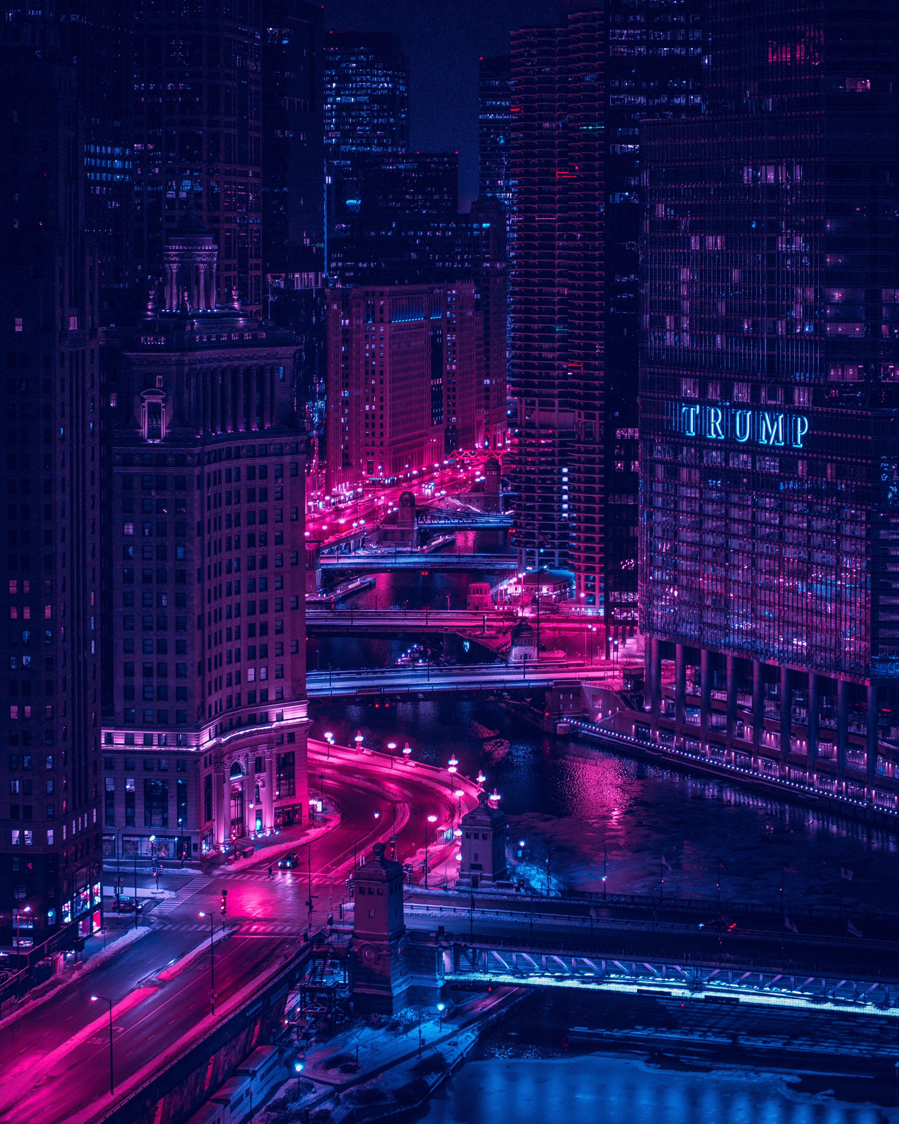 Artist Unknown Outrun Vapor Wave Style Photograph Of The Chicago Circuit Board Animation V6 By Motionworks Videohive River