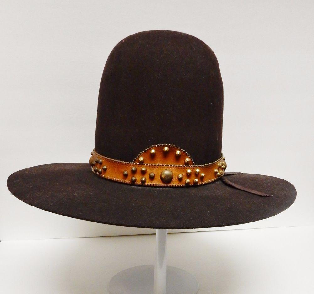 The American West Vtg Cowboy Hat 10 Gallon x Felt Brown 7 3 8 Leather Band  RARE  963b3307937a