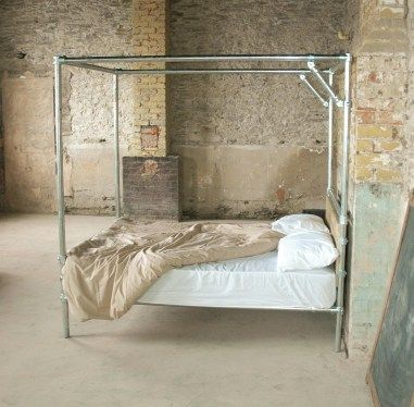 modern rustic / industrial four poster bed frame without the
