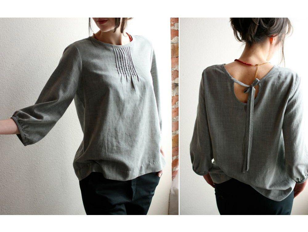 modaspia pintuck blouse : grey // Room6