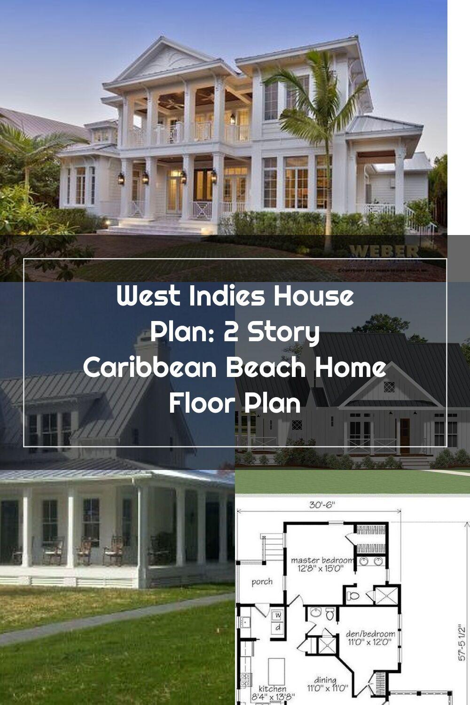 West Indies House Plan 2 Story Caribbean Beach Home Floor Plan