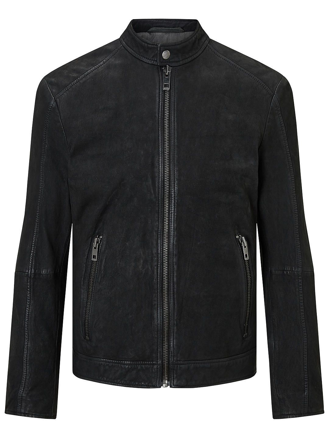 HUGO BOSS Jonate Slim Fit Biker Jacket, Black Fitted