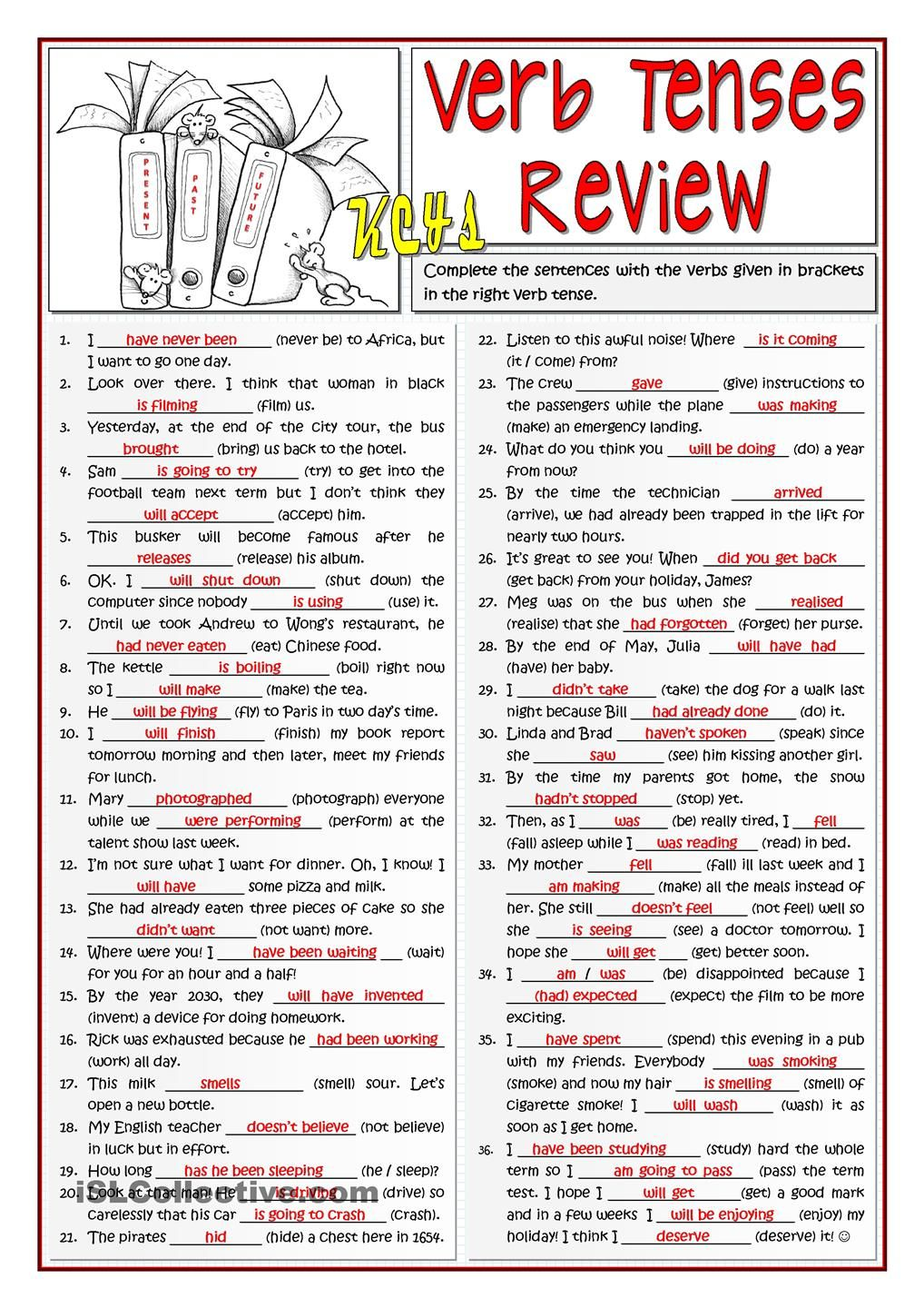 worksheet Verb Tense Review Worksheet b1 verb tenses review esl pinterest english and review