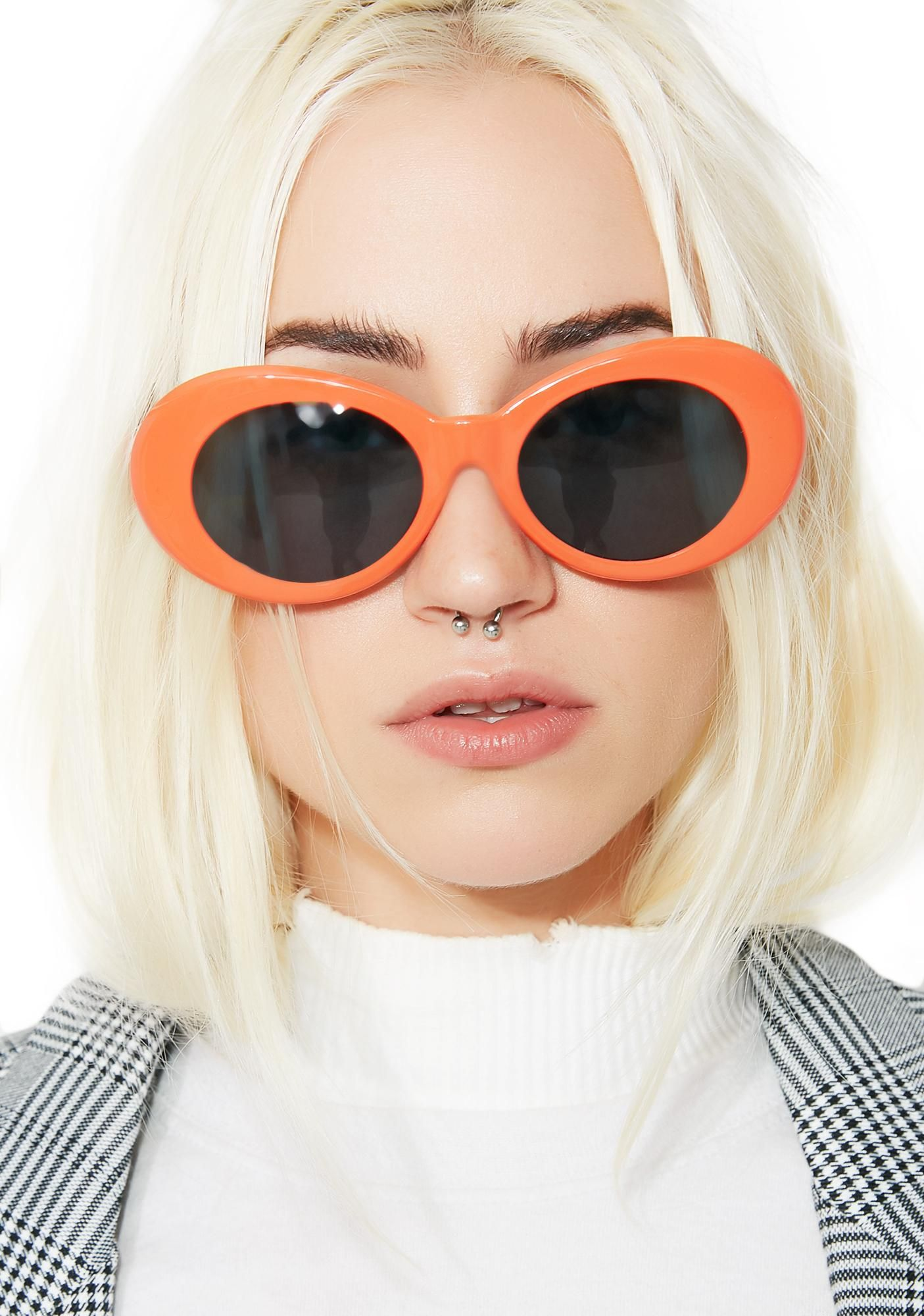 3910e1b70a Petals and Peacocks Orange Nevermind Sunglasses will make sure you stand  out. These dope af sunnies have bright orange frames and dark gray lenses.