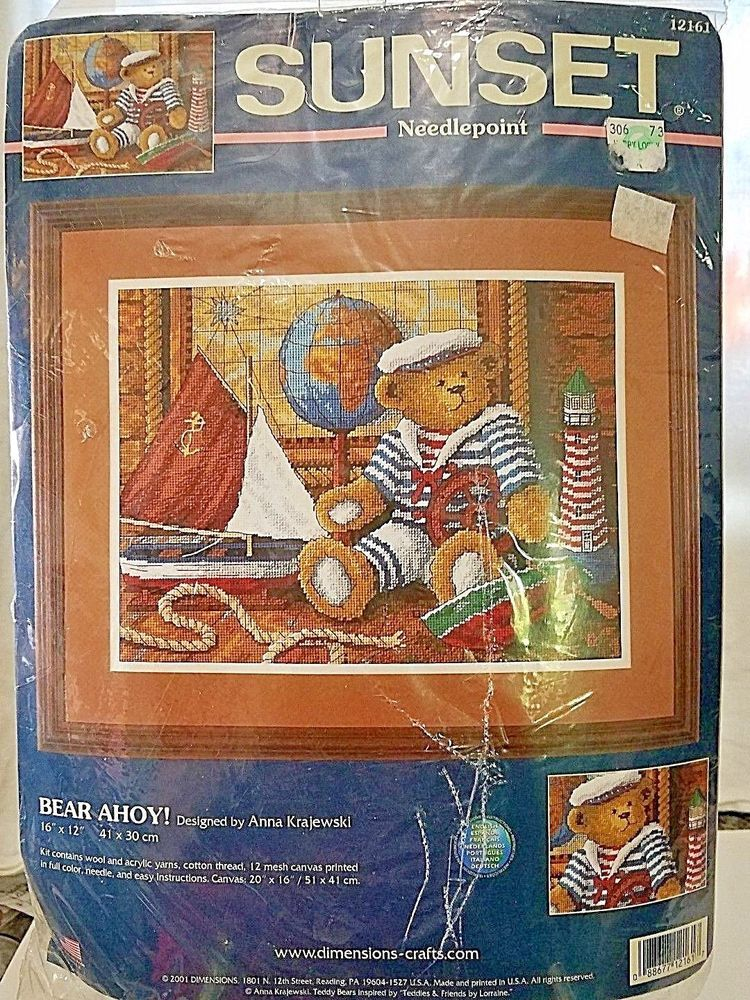 Bear Ahoy Sunset Needlepoint Kit Nautical Teddy Bear 12161new