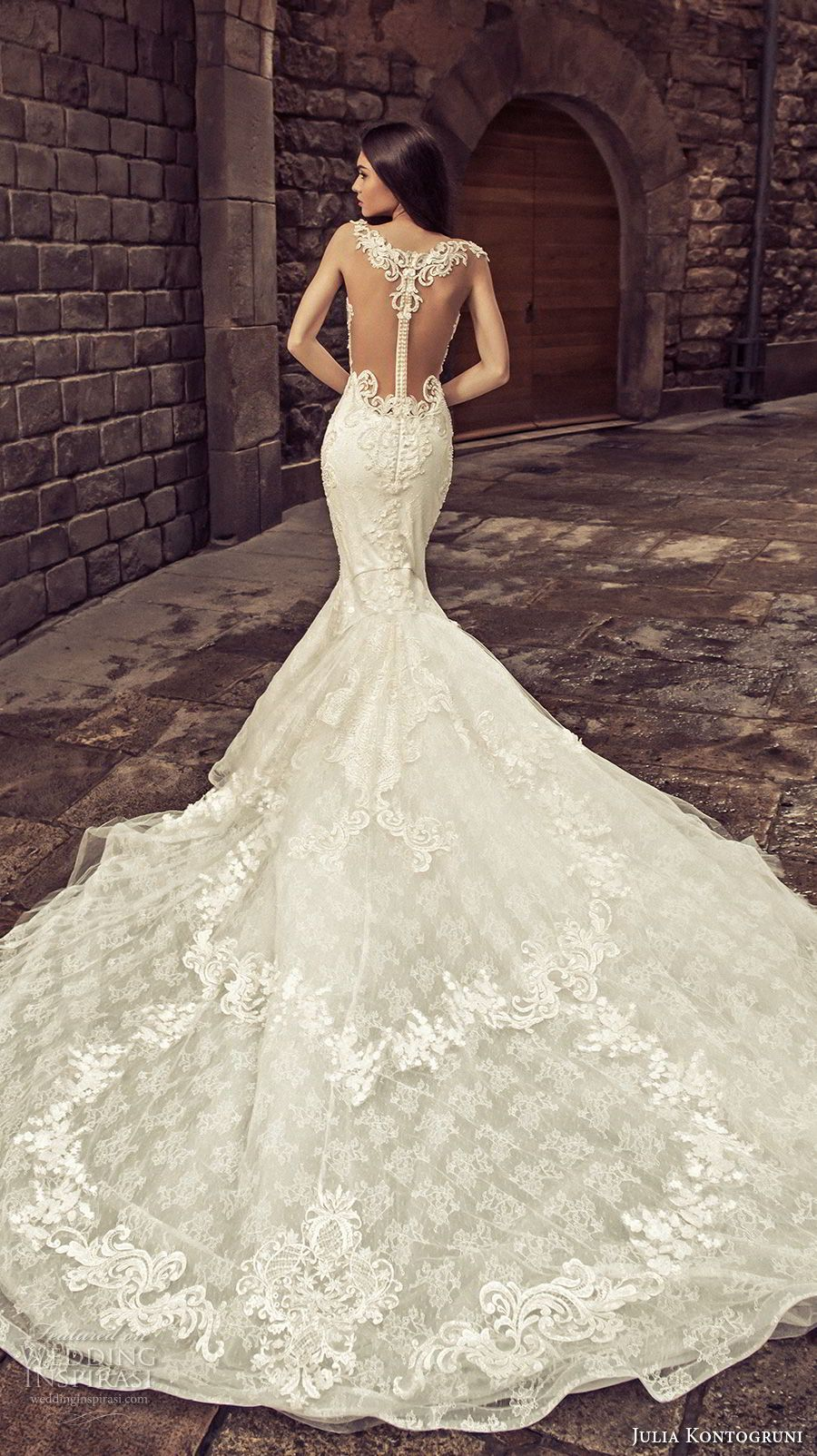 Lace mermaid wedding dress with cathedral train  Julia Kontogruni  Wedding Dresses  Mermaid wedding dresses