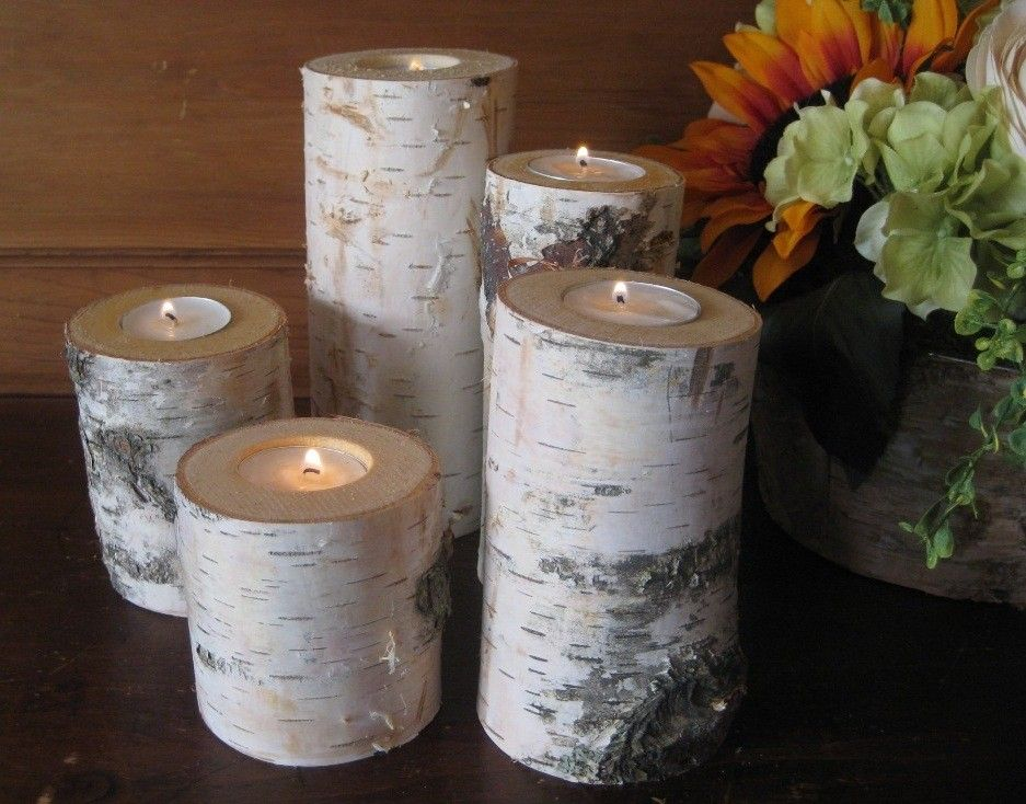 Birch Candle Holders Home Decor Wedding Centerpiece Rustic Wood Logs White  Birch by MyGardenGate on Etsy