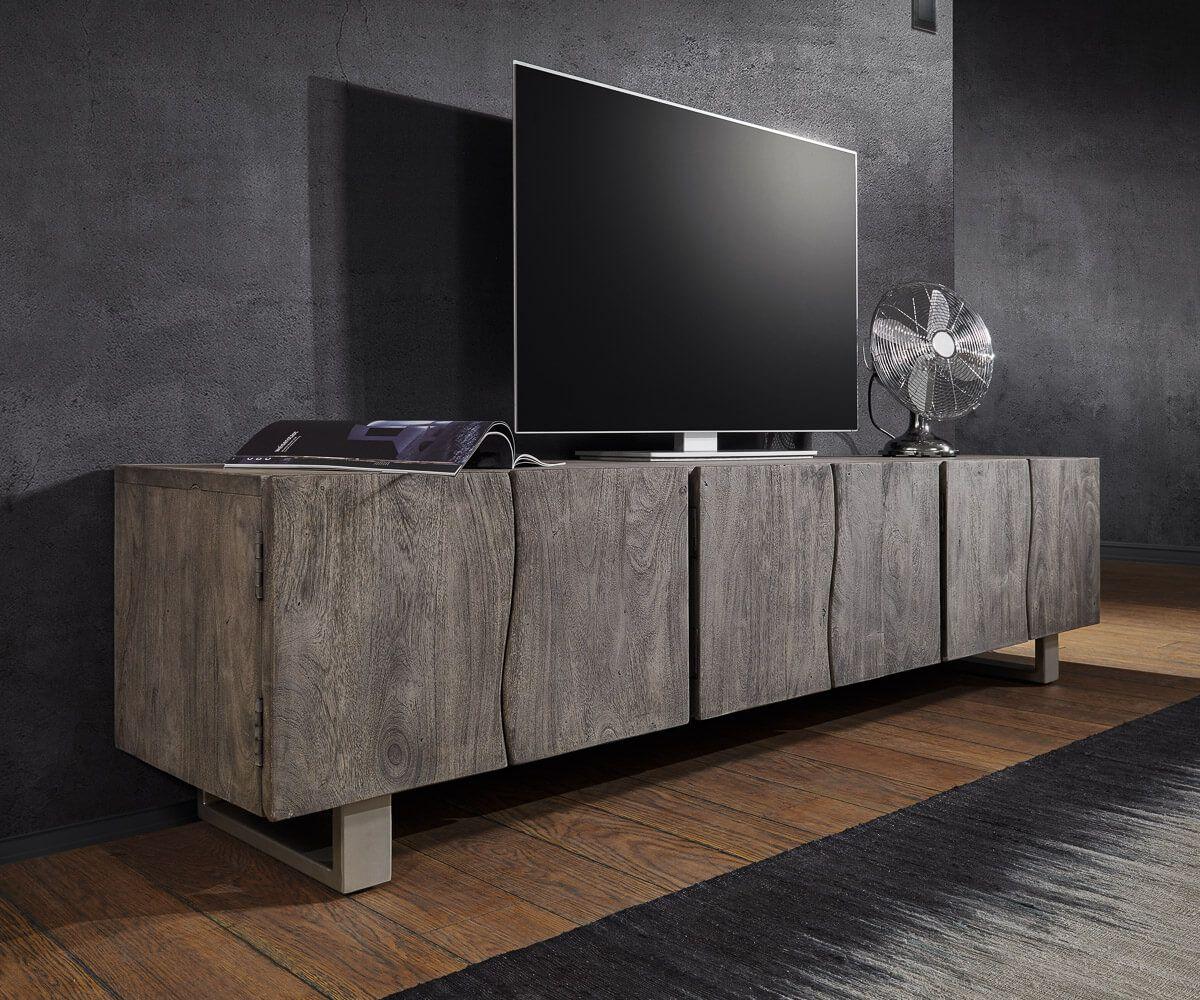 lowboard live edge 220 cm akazie platin massiv 6 t ren in 2019 tv wohnwand lowboard. Black Bedroom Furniture Sets. Home Design Ideas
