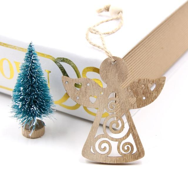 6pcs Christmas Snowflakes Wooden Hanging Pendant Xmas Tree Ornaments Kid Gifts