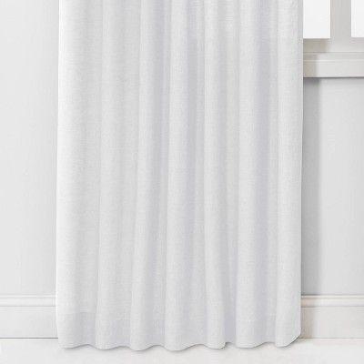 95 X54 Light Filtering Linen Window Curtain Panel White