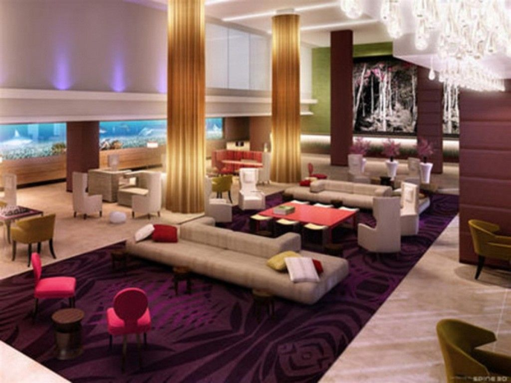 Interior Stylish Luxury Hotel Lobby Dark Purple Area Rug Pink Cute Chairs Off White Sofas Crystal Pendant Lamp Ideas To Design A