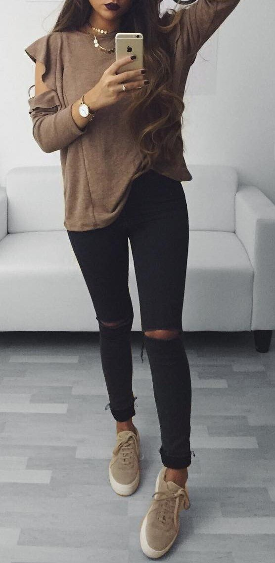#fall #outfits ·  Sheer Blouse // Ripped Jeans // Sneakers
