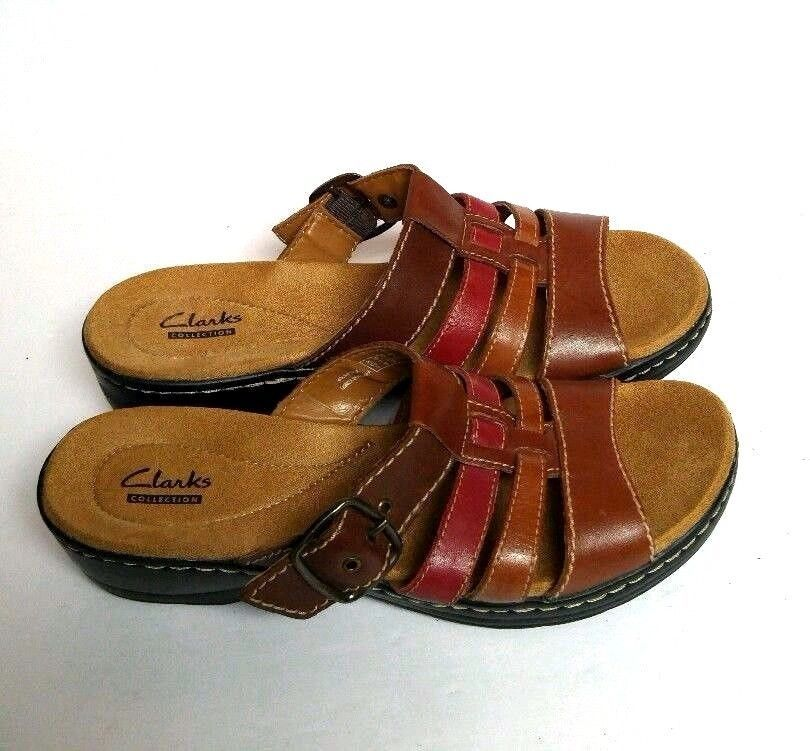 ebb4afd04b386f Clarks Collection Sandal Buckle Slide Mule Women s 7 M Brown Red Black  Leather  Clarks  Mules
