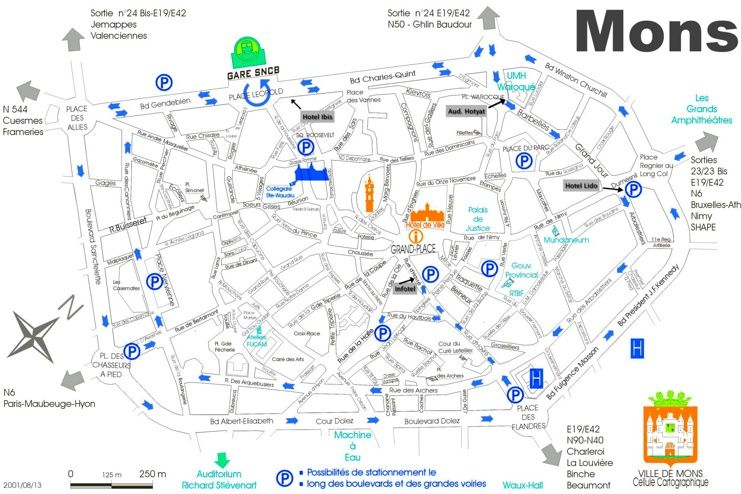 Mons city center map Maps Pinterest City and Belgium