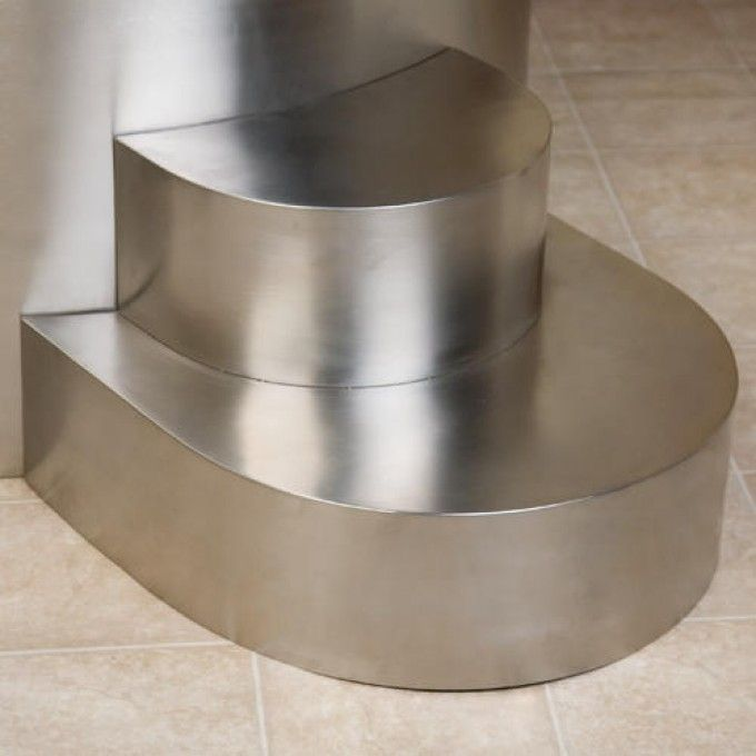 Stainless Steel Tub Steps For Round Soaking Tub   Brushed Finish