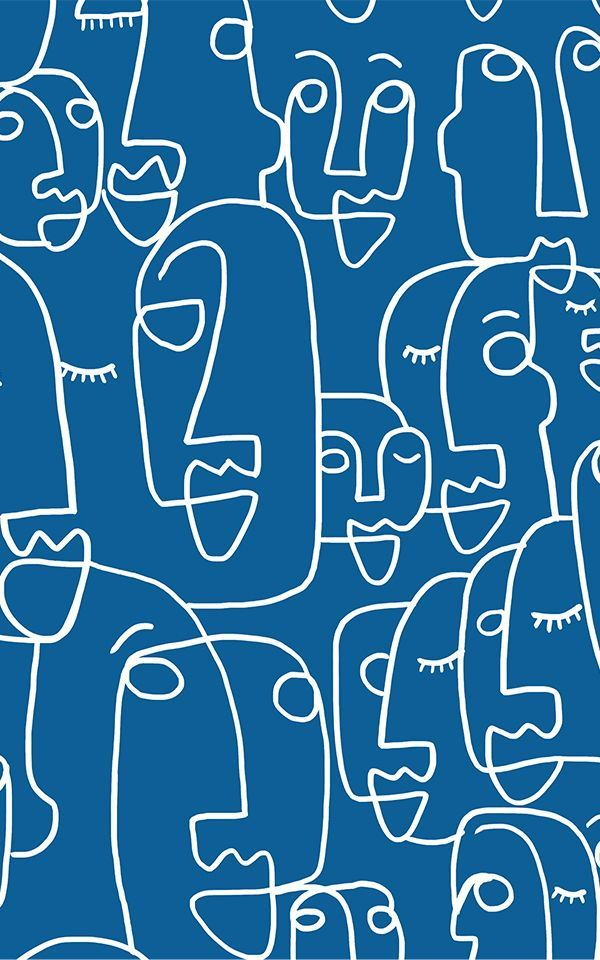 Blue Face Line Drawing Wallpaper Mural   Murals Wallpaper