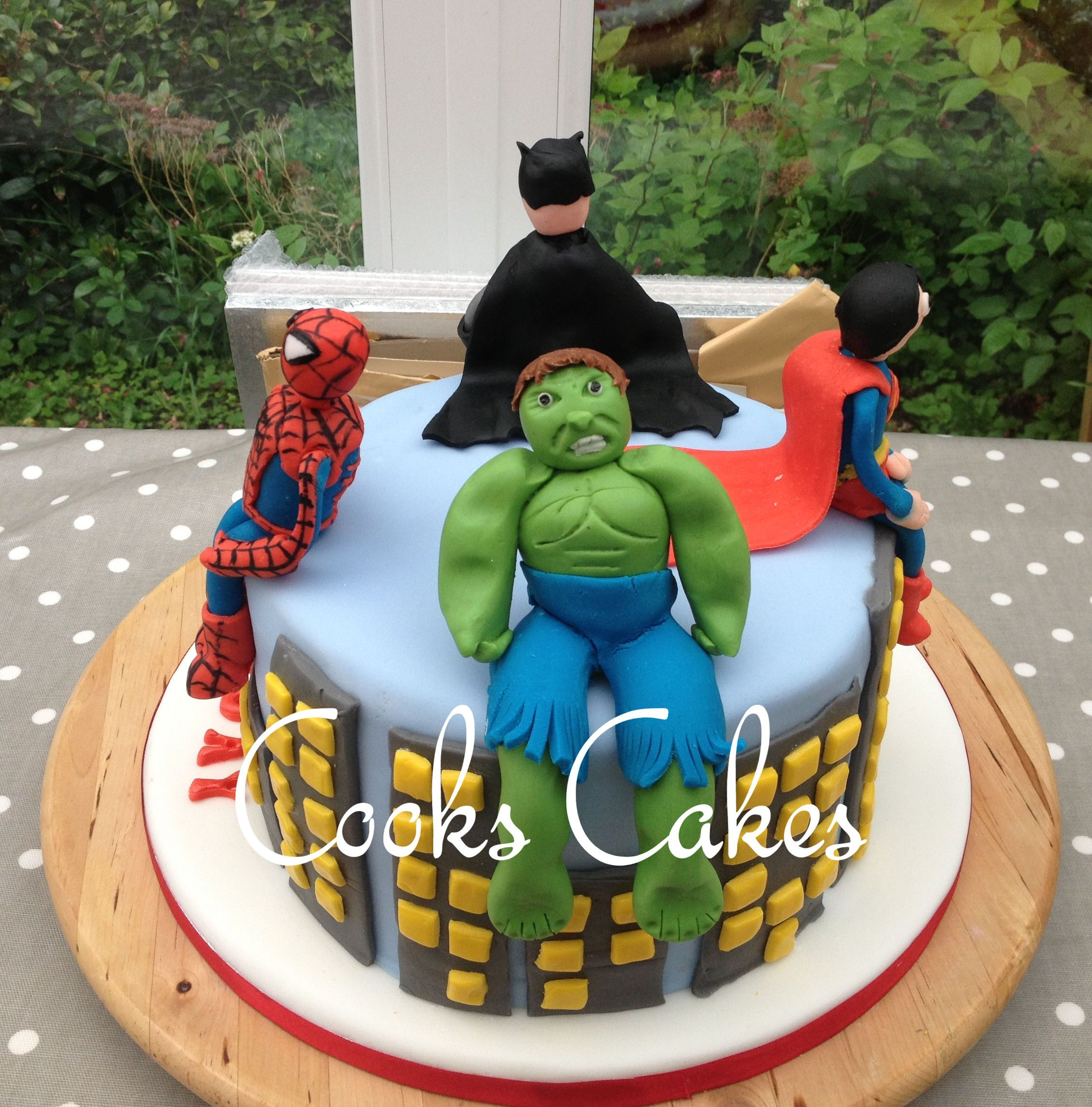 Sensational Birthday Cake For A 4 Year Old Boy Superheros Batman Spiderman Personalised Birthday Cards Veneteletsinfo