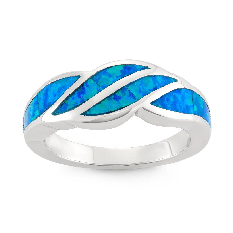 0d2b521d29 Fashion Bug Sterling Silver Created Blue Opal Designed Band Ring (Size 7)  www.fashionbug.us #fashionbug #rings