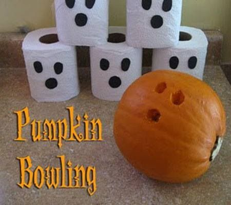 Pumpkin bowling - instead of pumpkin, use orange ball with face - halloween party ideas games