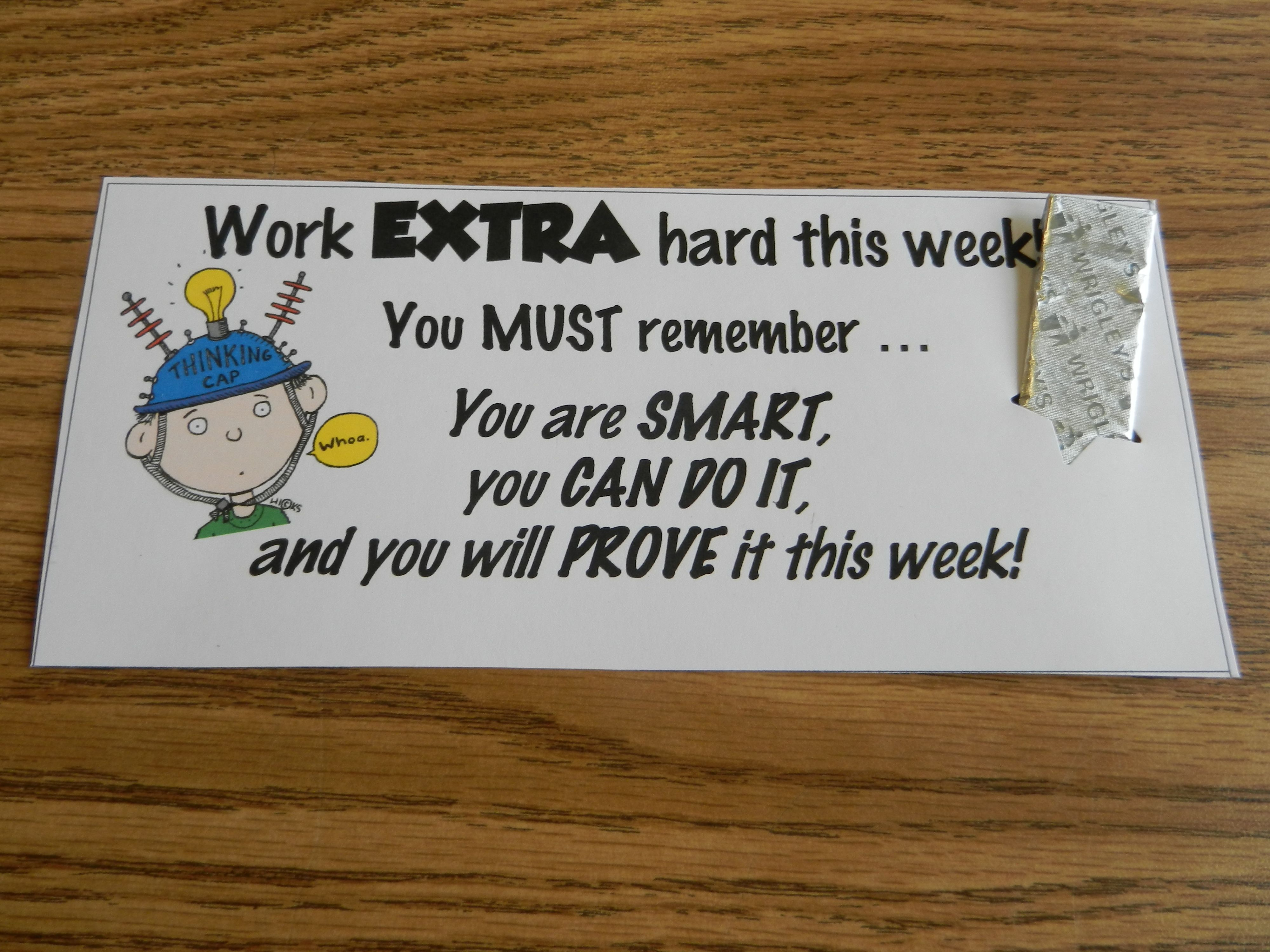 Testing quotes for elementary students - Extra Gum Test Encouragement