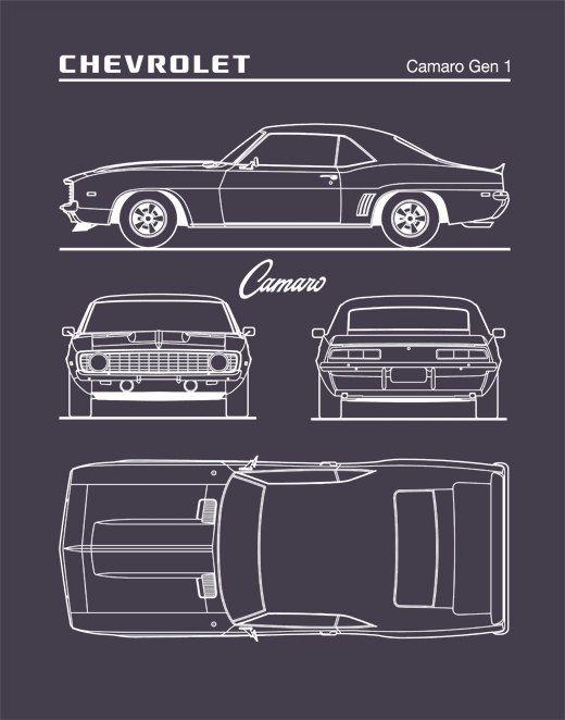 auto art, patent prints, car art, chevrolet camaro gen 1 blueprint