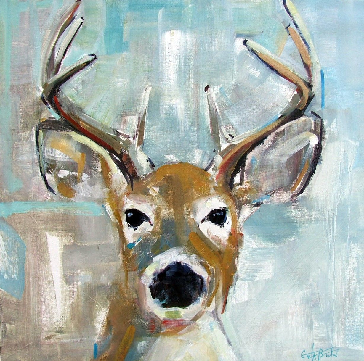 """deer Light Blue"" Original Oil Painting Of White Tail Buck Deer Alabama Artist Gina Brown"