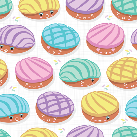 Colorful fabrics digitally printed by Spoonflower - Small scale // Kawaii Mexican conchas // white background