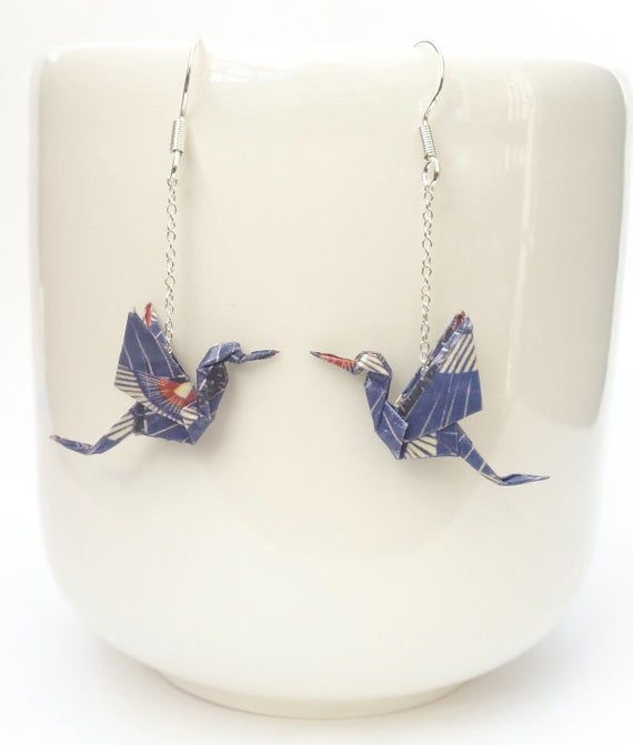 Origami Crane Earrings, Handmade, Sterling Silver, unique gift, origami jewelry, bird earrings