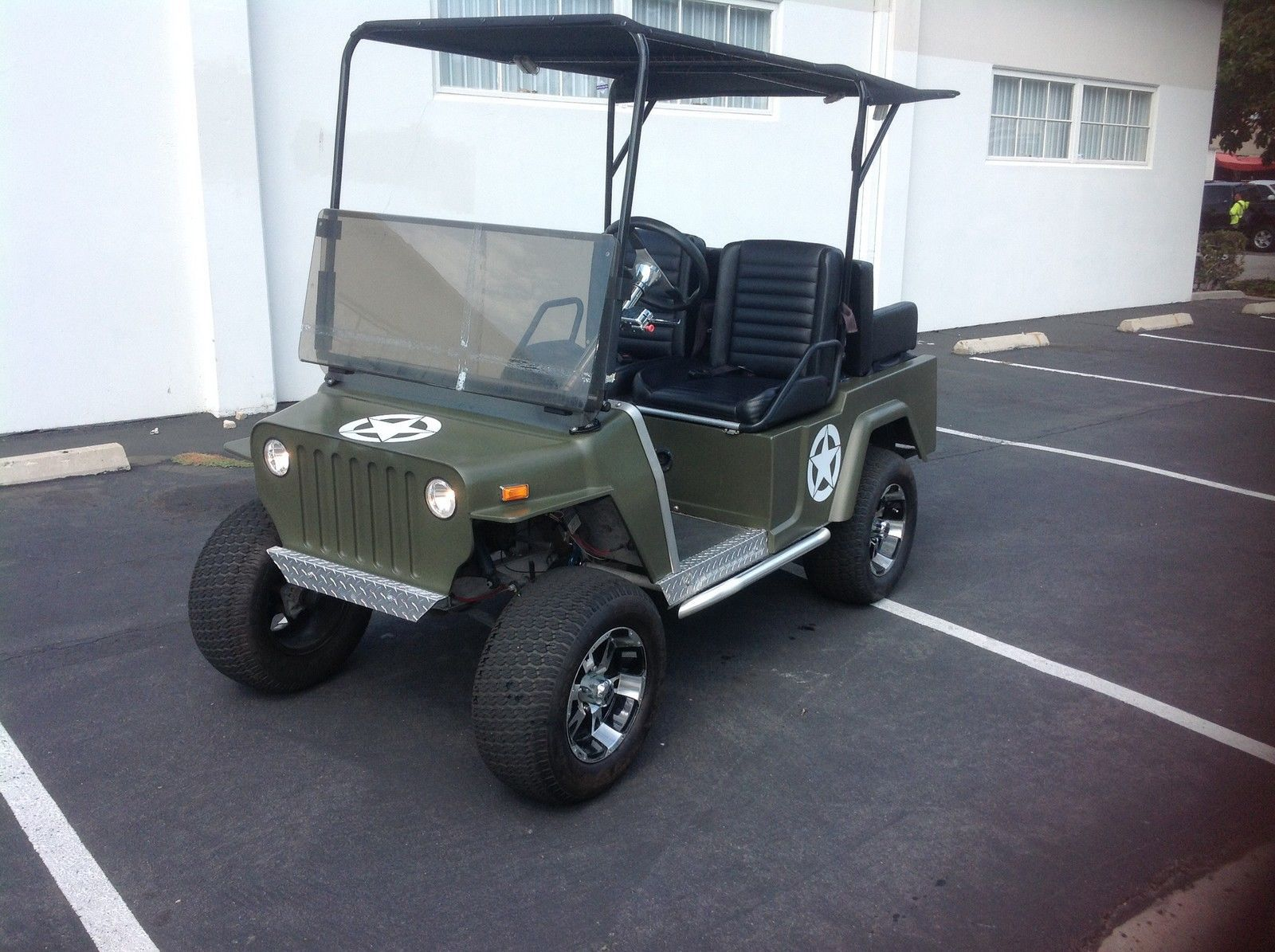 Club Car Golf Cart Willys Jeep Custom 48v 48 Volt Green Army Style 12 Alloy Rim For Sale Club Car Golf Cart Golf Carts Golf