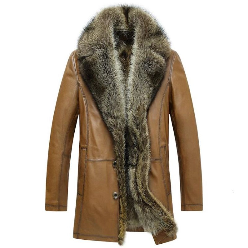 Men/'s winter thick coat trench outwear Leather Jacket Parkas coat fur liner Hot