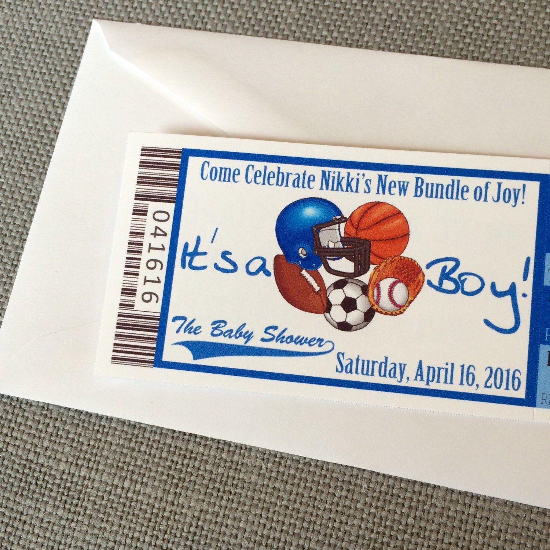All Star Baby Shower Ticket Invitation, It\'s A Boy, Sports Theme ...