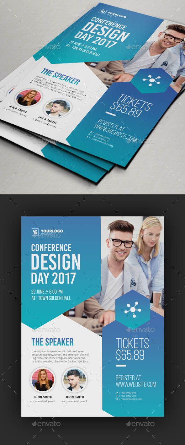 Conference Flyer V  Flyer Template Template And Font Logo