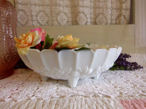 Vintage White or Milk Glass Footed Fruit Bowl  by CatfishJarRescue