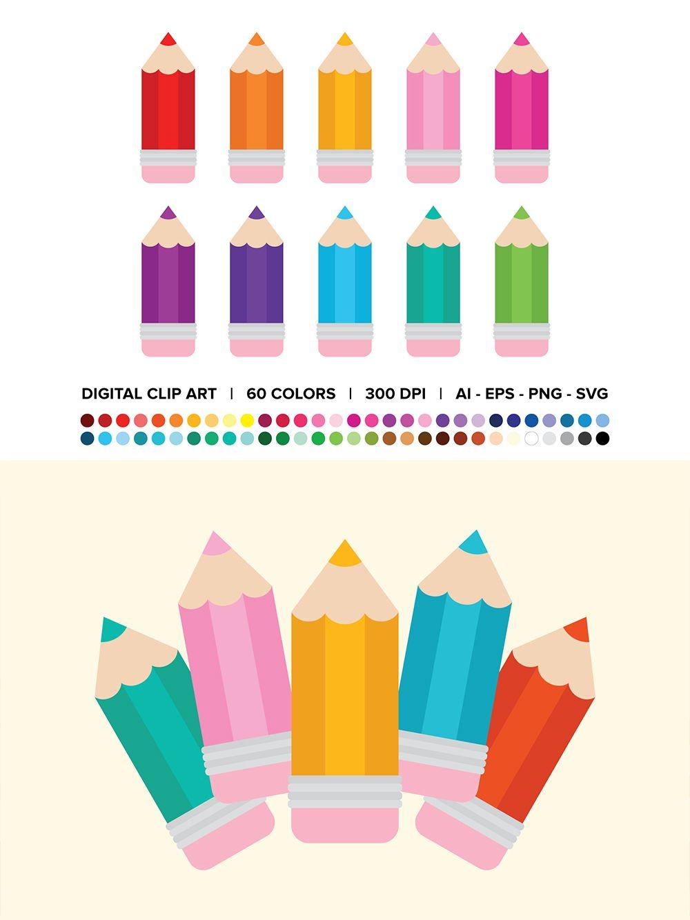 10+ Coloured pencils clipart ideas