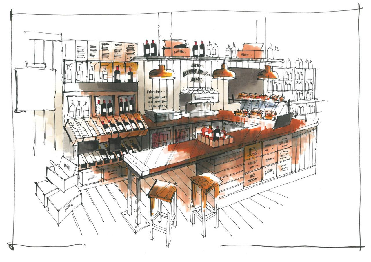 Cafe drawing interior - Wine Bar Coffee Shop Concept Sketch For A Chain Of Wine Shops That Want